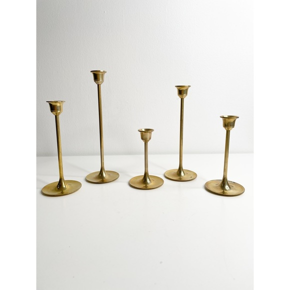 vintage brass graduated taper candle holders 5 pc